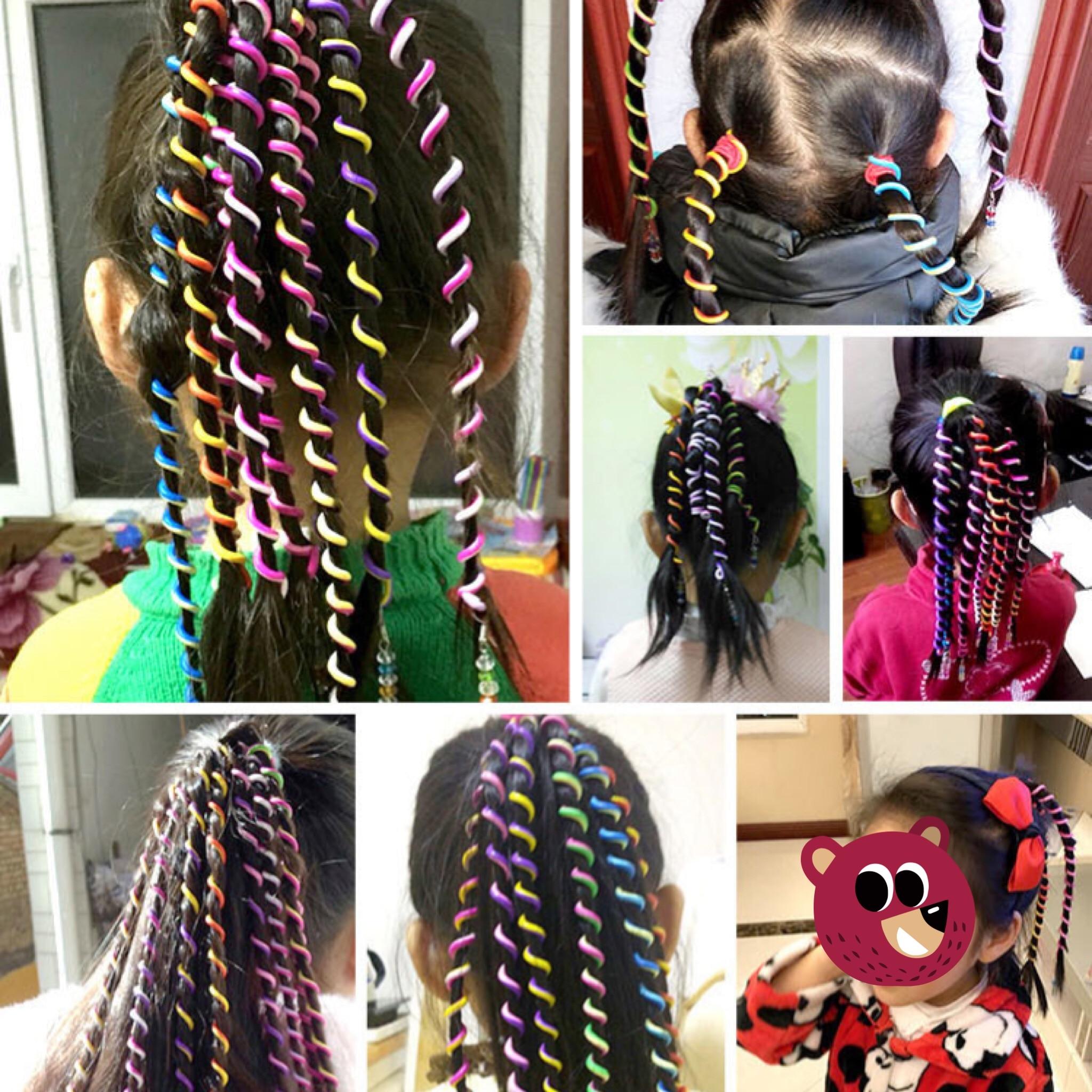 6pcs/lot Headband Cute Girls Hair Band Crystal Long Elastic Headwear Rainbow Color Free Length Dreadlocks Hair Style Accessories