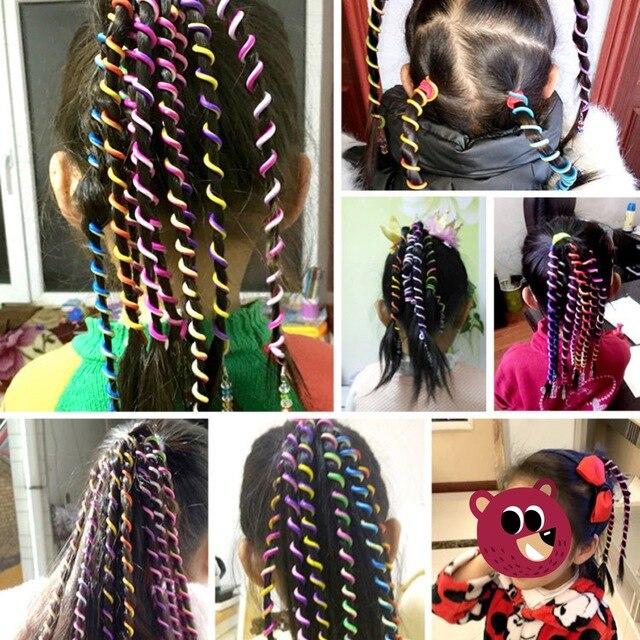 Gökkuşağı uzun streç saç bandı headdress sevimli kız saç bandı kristal uzun elastik şapkalar serbest uzunluk saç topuz saç aksesuarları