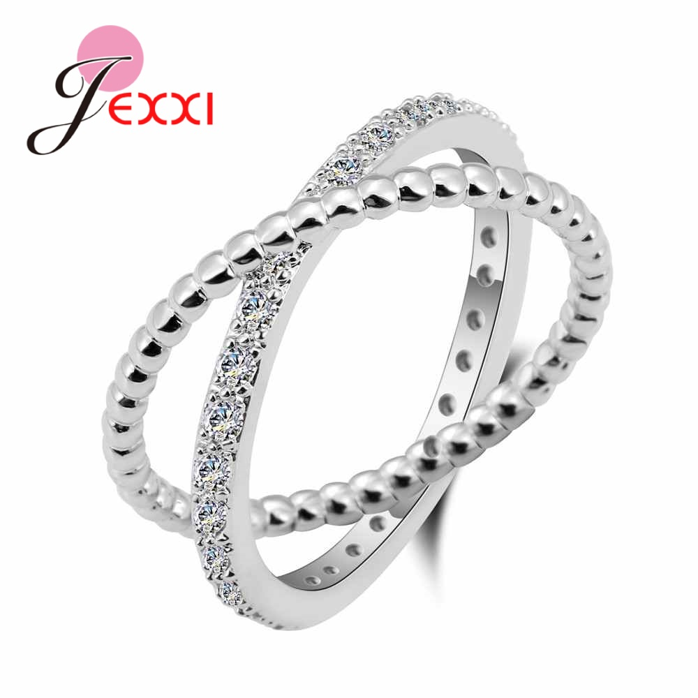 JEXXI New Big Cross Zircon Ring Fashion Female Jewelry Infinity Sign Women 925 Sterling Silver Rings for Party Bands Accessory