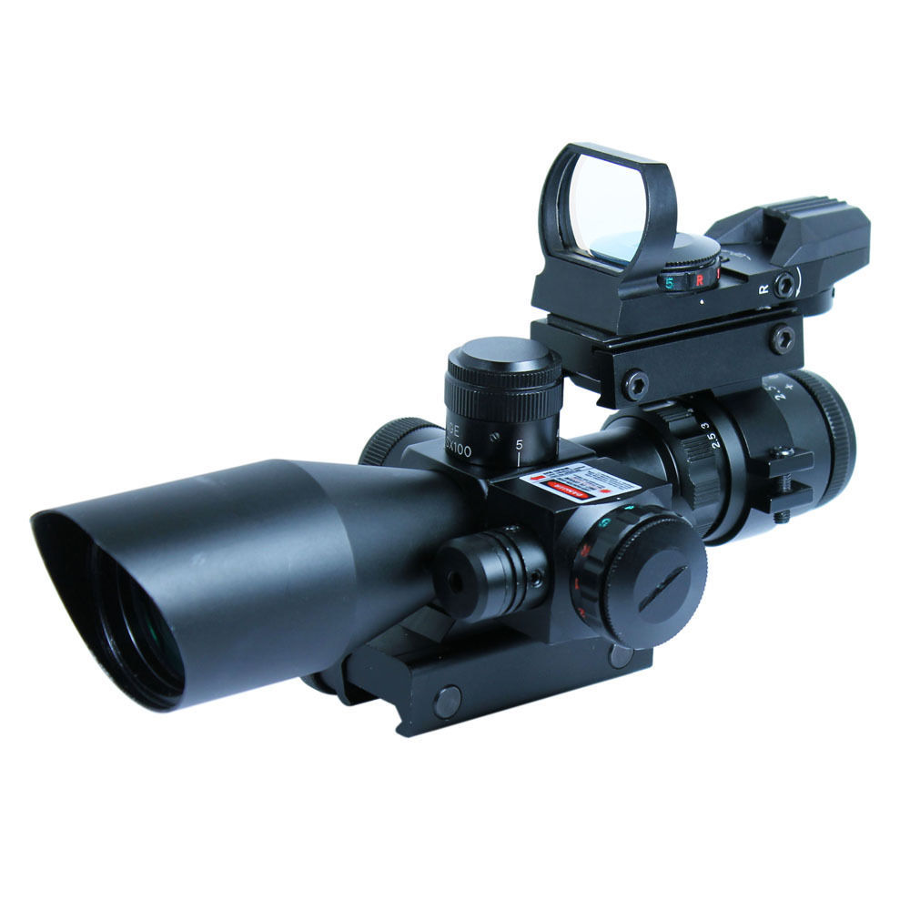 Combo Gun Sight 2.5-10X40 Hunting Riflescope w/ Red Laser & Tactical Holographic Green / Red Dot Sight  for Airsoft air pistol Combo Gun Sight 2.5-10X40 Hunting Riflescope w/ Red Laser & Tactical Holographic Green / Red Dot Sight  for Airsoft air pistol