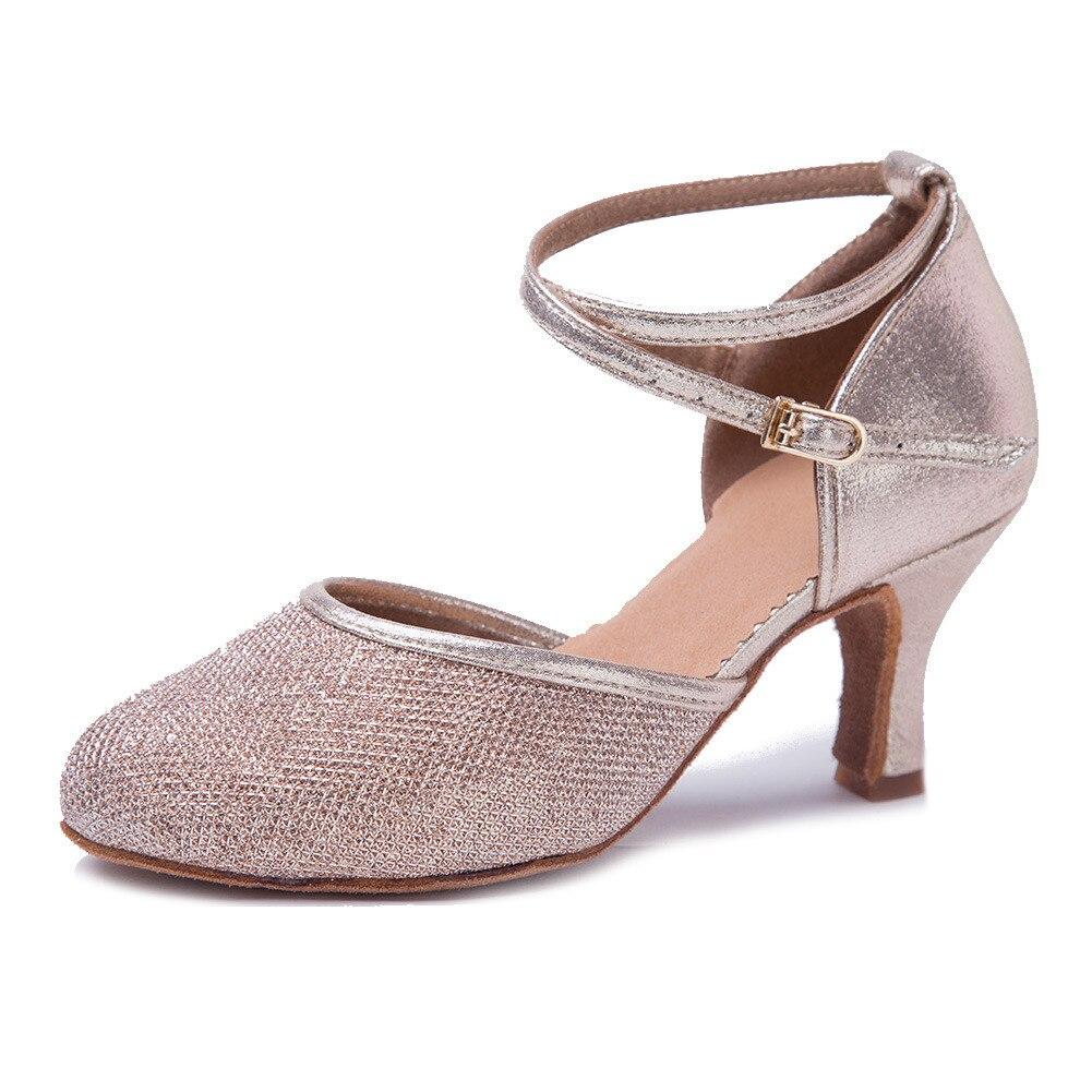 6eea66b95e New Free Shipping Gold Glitter Closed Toe Dance Shoe Ballroom Salsa ...