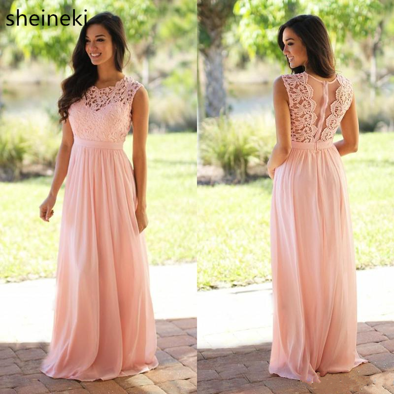 2018 Sexy Long Chiffon Lace Bridesmaid Dresses Pink Sage Wedding Party Dresses Country Bridesmaid Gowns Vestidos de casamento