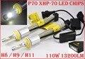 Mais recente 1 Conjunto H8/H9/H11 Cre P70 6600LM 110 W LEVOU Kit de Conversão farol XHP-70 Driving Fog Lâmpada Lâmpada H4 H7 H8 H9 55 W 13200LM