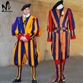 newest halloween Carnival costume for adult men and women unisex soldiers cosplay costume papal swiss guard uniform costume