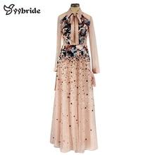 חינני גבוהה צוואר מעצב ואגלי שמלות קריסטלים צבעוניים ורוד תחרה מקיר לקיר אורך ערב שמלות בציר סלבריטאים שמלות