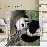 Custom Panda Pattern Travel Blanket Home TV Casual Relax for Family Soft Fluffy Warm Blanket