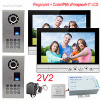 Video Door Phone IP65 Waterproof Fingerprint Keypad Intercom Video Intercoms 9 Color Monitor Video Call For