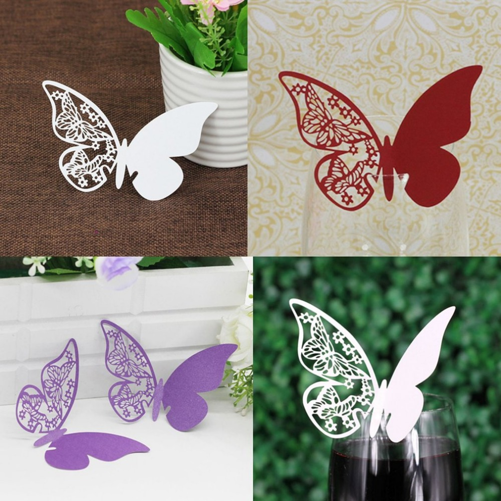 50 Pcs/Lot Butterfly Party Cards Table Mark Wine Glass Name Place Card Birthday Wedding Event Party Bar Decorations Party Gift image
