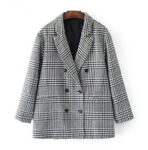 2018 Autumn Fashion Plaid Blazer for Women Casual Outwear Double Breasted OL workwear Blazer female Coat