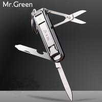 Multifunctionele nagelknipper rvs riem vinger bestand ring vinger schaar riem flesopener vinger tang scissorss L
