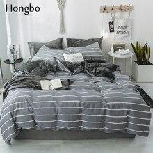 Hongbo полосатый пододеяльник классический Комплект постельного белья Кристалл фланелевая кровать комплект белья простой геометрический гладкая хлопковая материя набор постельного белья