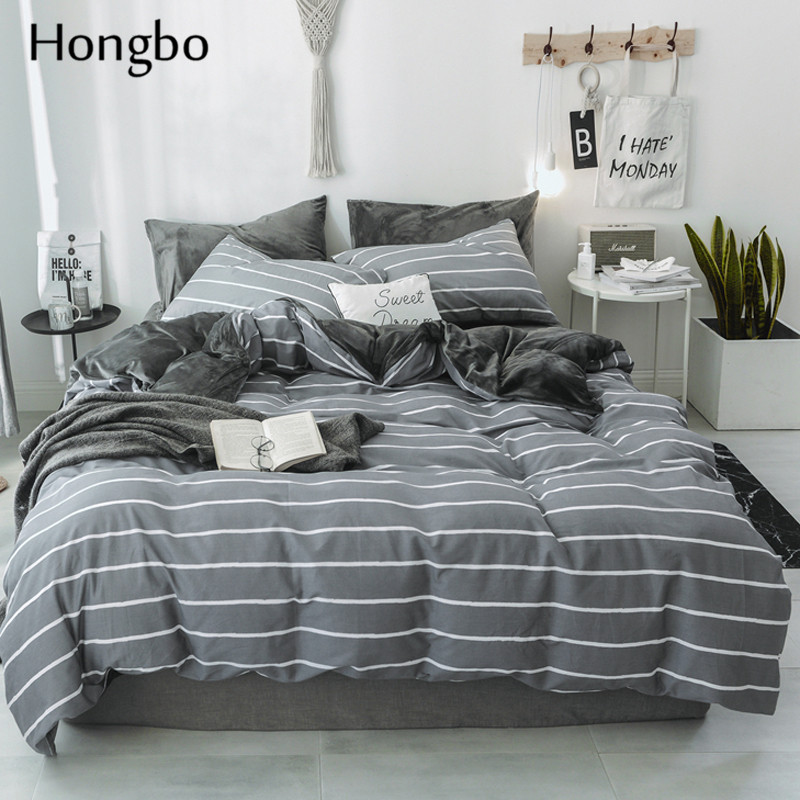 Hongbo Striped Duvet Cover Classic Bedding Set Crystal Flannel Bed Linen Simple Geometric Cotton Flat Sheet