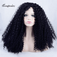 Strongbeauty Afro Long Black Kinky Curly Wig Synthetic Curly Black Lace Front Heat Resistant Wig for Black Women