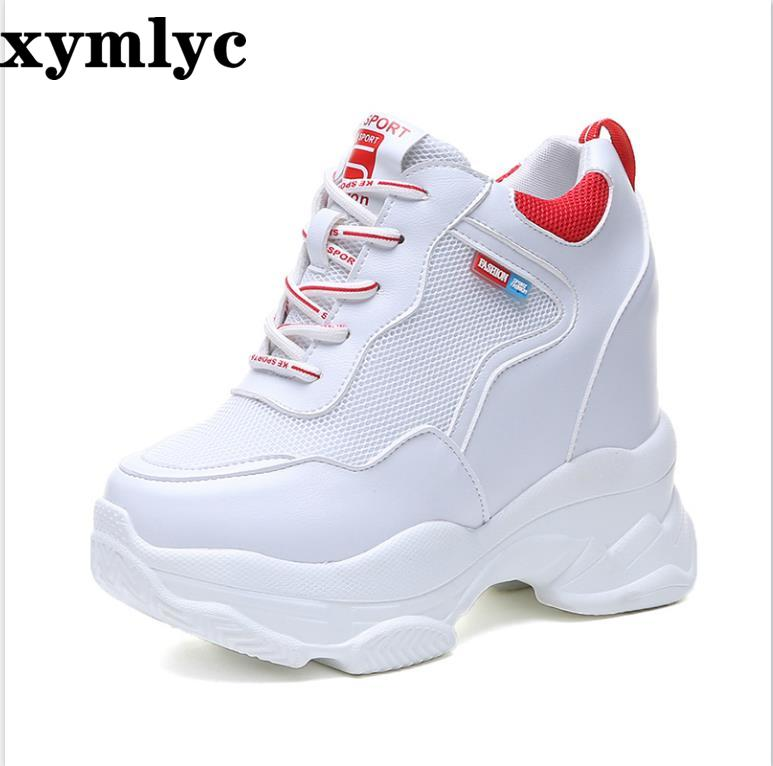 2019 spring autumn fashion platform shoes casual sweet sports shoes shallow mouth Femmes Height Increase Shoes White mujer(China)