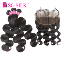 Brazilian Hair Body Wave 3Pcs Human Hair Bundles With Lace Frontal Closure Weave With 13X4 Closure