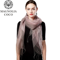 2017 Luxury Brand Eugen Spring Summer Silk Scarf Yarn Female Long Solid Color Scarf Silk Scarf Shawl And Clothing Accessories