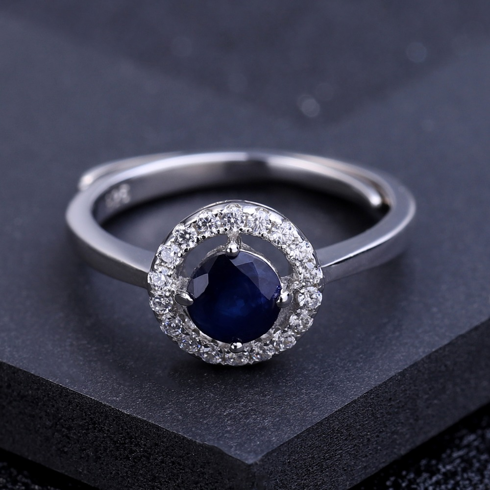 Image 3 - GEMS BALLET 0.70Ct Natural Blue Sapphire Genuine 925 Sterling Silver Adjustable Rings For Women Wedding Luxury Fine Jewelryring forrings for womenring ring -