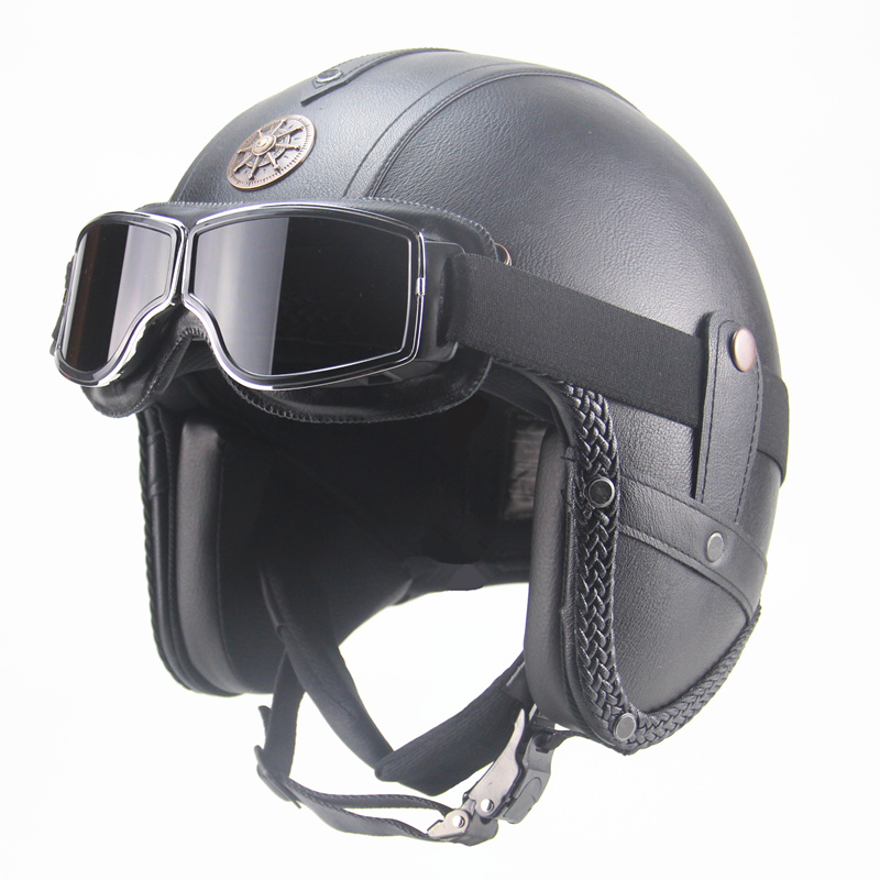 Free Shipping Pu Leather Helmets 3/4 Motorcycle Chopper Bike Helmet Vintage Motorcycle Helmet