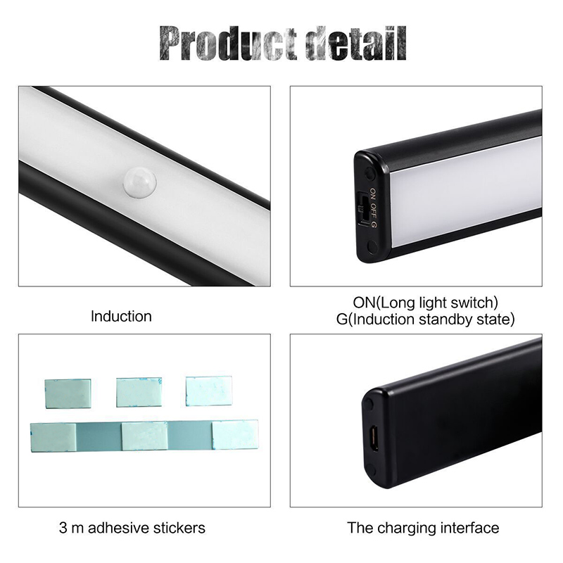Motion Sensor Light USB Rechargeable 10 LED Lights for Wardrobe Stair Hallway Cabinet LB88
