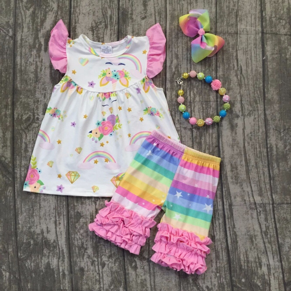 2018 Summer clothes unicorn sleeveless capri set baby girls boutique clothing rainbow icing shorts with matching accessories summer design baby girls baseball season style boutique ruffles cotton capri striped belt outfit clothes matching accessories