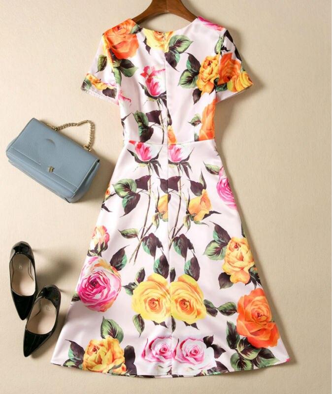 Multi Manches À Robes Casual cou A1143 Courtes Imprimer Femmes O Dress Mini q7XwfP