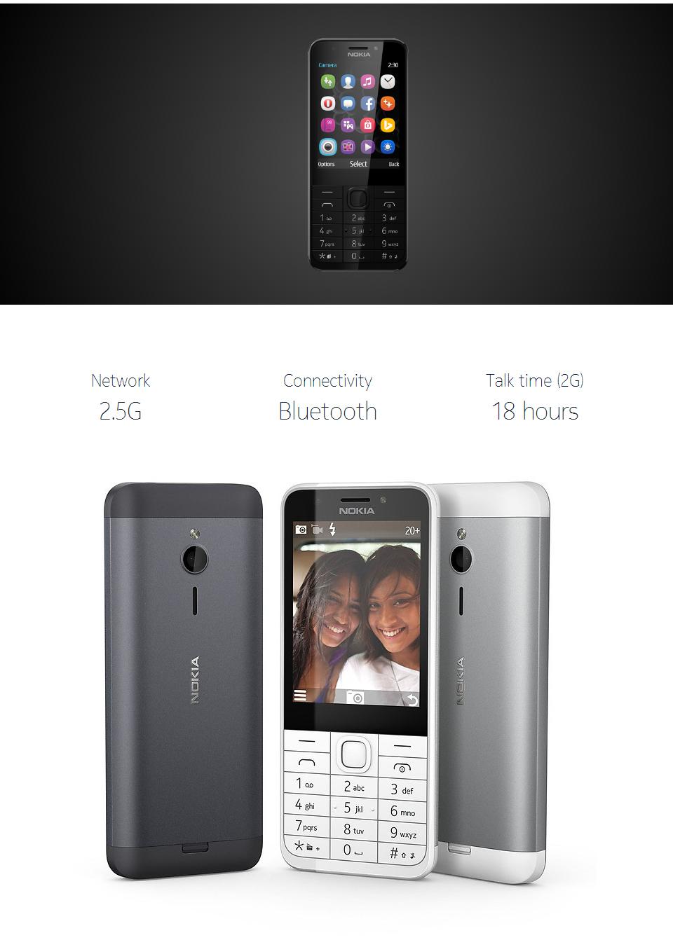 new phone Original Nokia 230 Unlocked GSM 2.8 inch Dual SIM & Single card Cards 2MP dual sim card grey 2