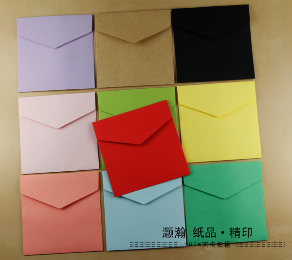 Square Envelope 127x127mm CD Envelope Greeting Card Color Envelope 100PCS card kraft postcards handmade 3d pop up musical greeting cards happy birthday paper with envelope gift message card for girl
