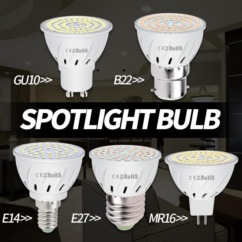 10PCS Free Shipping GU10 Bulb E27 Led Lamp GU5.3 MR16 E14 Led 220V Home Led Light Bulbs B22 48 60 80leds High Lumen Spotlight