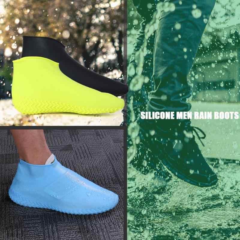 1 คู่ Reusable รองเท้ากันน้ำซิลิโคน Non-Slip Rain Boots รองเท้าป้องกัน Overshoes กลางแจ้งขี่จักรยานกีฬารองเท้า