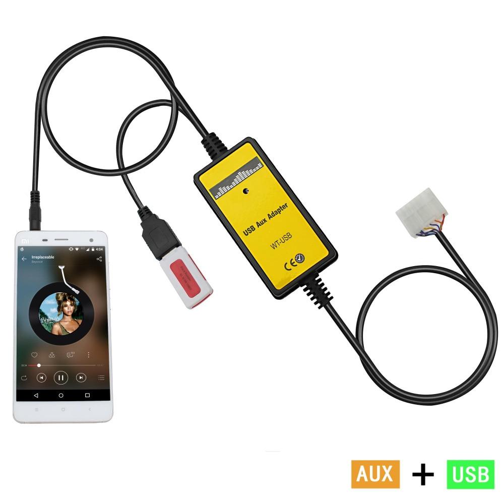 Voiture Mp3 Lecteur Adaptateur 3.5mm AUX USB SB Auto 12 v Musique adaptateur Câble Aux pour Toyota 5 + 7 Yaris Camry Fortuner Avensis QX018