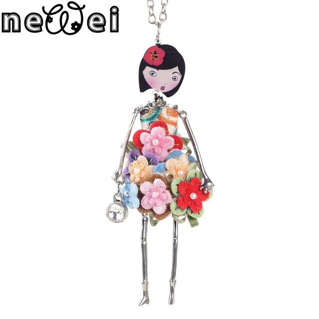 Newei Lovely Doll Necklace Pendant  Long Chain New Fashion Jewelry For Women Girl Spring Summer style accessories Bijoux Gift
