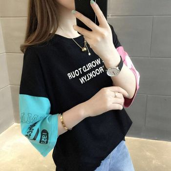 Korean Ulzzang Tops T Shirt for Women Summer Harajuku Letter stitching Half Sleeve Top Tshirt Schoolgirl Preppy Style Clothes