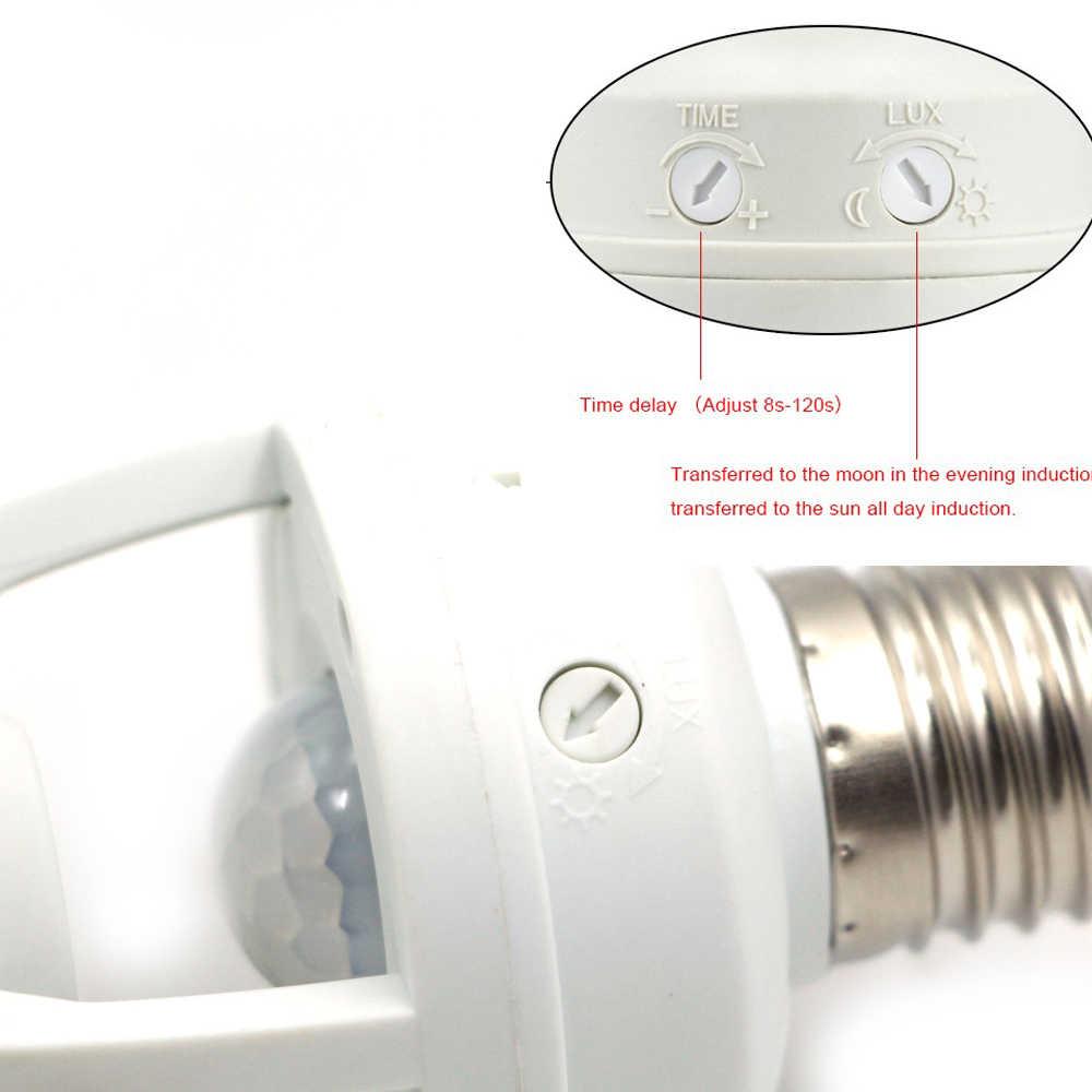 Smart AC 110V 240V Pir Induction Infrared Sensor Gerak E27 LED Lamp Base Holder dengan Saklar Kontrol Cahaya bulb Soket Adaptor