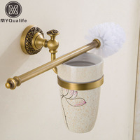 Free Shipping Wholesale And Retail High End Wall Mounted Toilet Cleaning Brush Antique Brass Toilet Brush