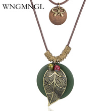 WNGMNGL Vintage Handmade Green Wood Beads Leaf Pendant Long Rope Layers Necklaces Women Sweater Accessories Choker Bijoux Femme