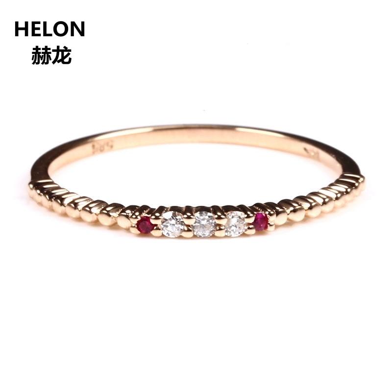 Sólido 10 k oro rosa diamantes naturales anillo de compromiso boda banda rubí Natural aniversario joyería fina moda mujer anillo-in Anillos from Joyería y accesorios    1