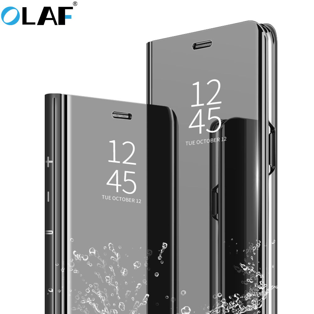 Olaf Luxury Case för iPhone 8 7 6 6 S Plus Ultra Slim Mirror Smart case för iPhone 8 iPhone 7 Cover Phone Holder För iPhone X
