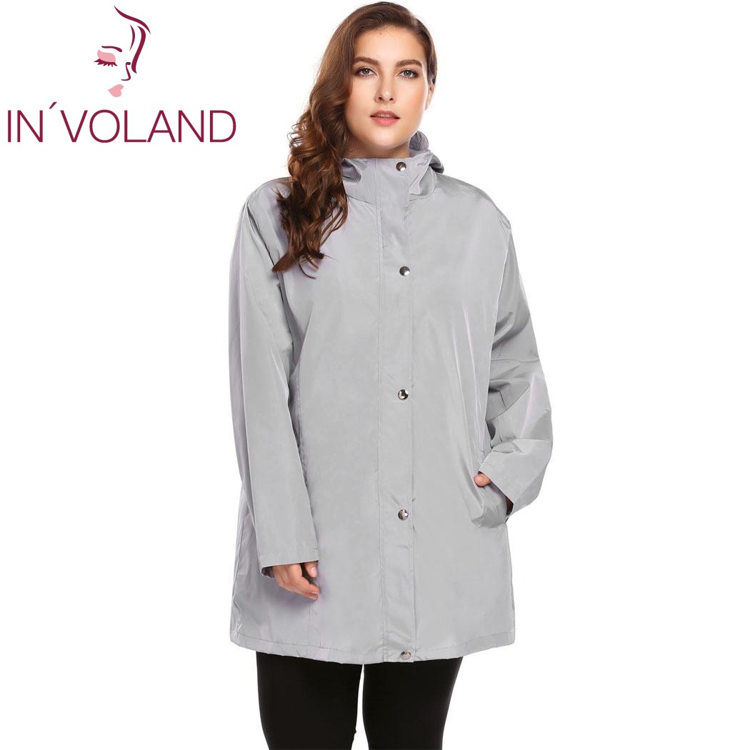 IN'VOLAND Plus Size L-4XL Women   Trench   Coat Autumn Winter Casual Hooded Windproof Long Sleeve Solid Large Rain Overcoat Big Size