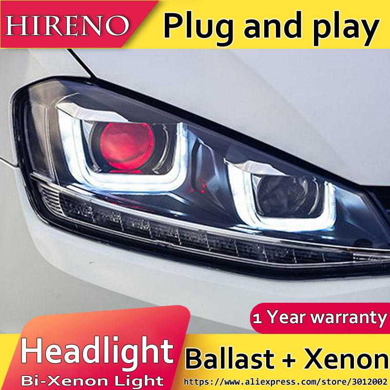 Hireno Headlamp for 2014-2015 Volkswagen Golf 7 Golf7 Headlight Assembly LED DRL Angel Lens Double Beam HID Xenon 2pcs hireno headlamp for mercedes benz w163 ml320 ml280 ml350 ml430 headlight assembly led drl angel lens double beam hid xenon 2pcs