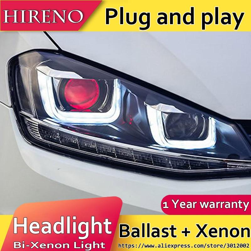 Hireno Headlamp for 2014-2015 Volkswagen Golf 7 Golf7 Headlight Assembly LED DRL Angel Lens Double Beam HID Xenon 2pcs hireno headlamp for 2015 2016 2017 chevrolet cruze headlight assembly led drl angel lens double beam hid xenon 2pcs