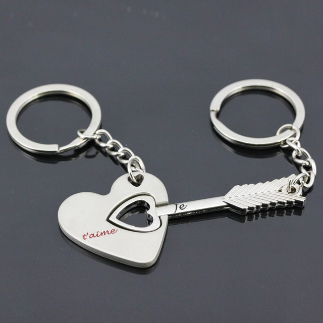 Wholesale Je Taime French Word Arrow And Love Heart Keychain Key Ring Couple Valentine