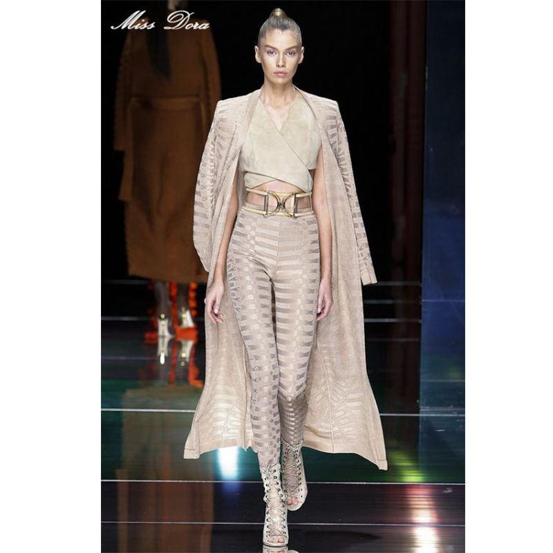 2016 Top Runway B*lmain Geometric Stereo Jacquard Bandage long cardigan sets New Fashion autumn winter Leggings Jacket