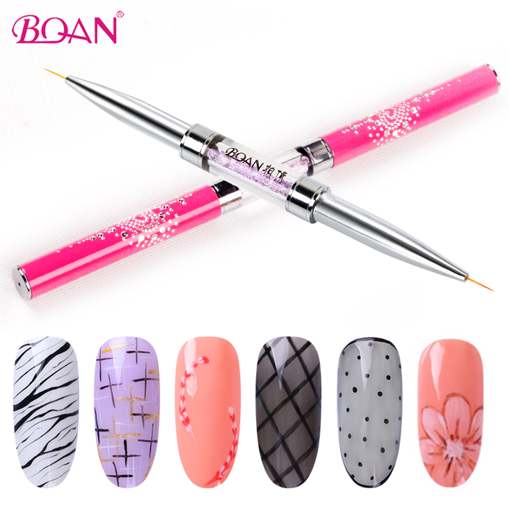 BQAN Double Head Nail Liner Brush 5mm/7mm/9mm/11mm Acrylic Nail Art Brushes Drawing Line Crystal Handle Nail Art Manicure Brush