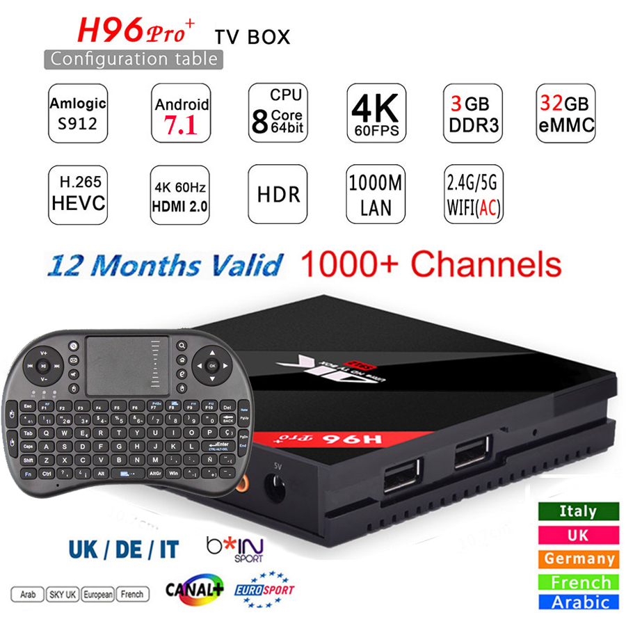 Original H96 PRO Plus + Android 7.1 TV Box 3G 32G ROM Amlogic S912 64bit WIFI Bluetooth 4.1 Gigabit LAN 4K&2K Smart Media Player