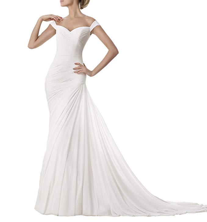 2019 Fold Chiffon Sweetheart Zipper Court Train Wedding Dress With Long Veil Vestidos De Novia