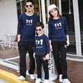 Mulheres Homens Criança Marinha Outono Moletons Casual Roupas Da Família Mãe Pai Filho Filha Combinando Roupas Família Set Hoodies GB7
