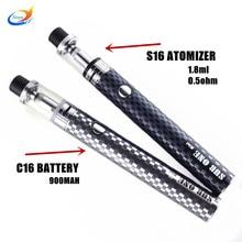 New arriving Electronic cigarette s16 atomizer c16 battery evaporator mods 1.8ml Vaporizer ego hookah pen vape kits mod vapor