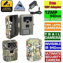 Blueskysea SG-880V 1080P No Glow 12MP 940NM Night Vision Infrared IR Trail Scouting Camera Hunting Camera+Free 12V Adaptor