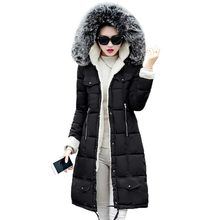 2016 New Winter Long Down Coat Women Hooded Fur Collar Thick Cotton Padded Jacket Artificial Lambswool Overcoat Plus Size PW0342