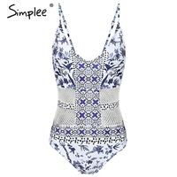 Simplee Hollow Out Print Sexy Bodysuit Women Casual Strap Backless Romper Jumpsuit Summer Beah Boho Chic